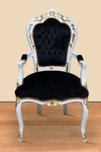 CHAIRS FRANCE BAROQUE STYLE DINING ROYAL CHAIR WITH ARMRESTS WHITE-BLACK #70F31